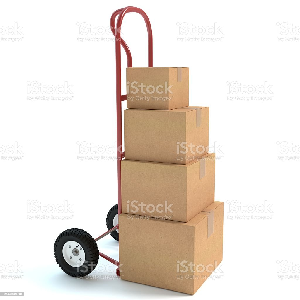 Hand Truck and Boxes stock photo