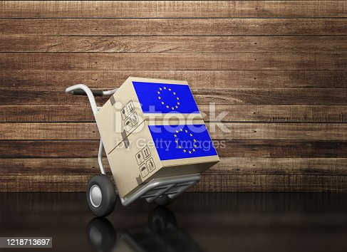 Hand Truck and Cardboard Boxes on Chalkboard and European Flag - 3D Rendering