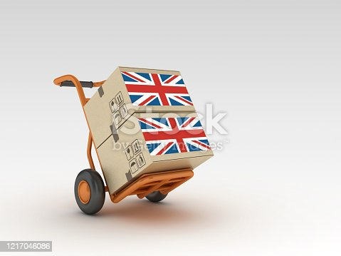 Hand Truck and Cardboard Boxes with UK Flag - 3D Rendering