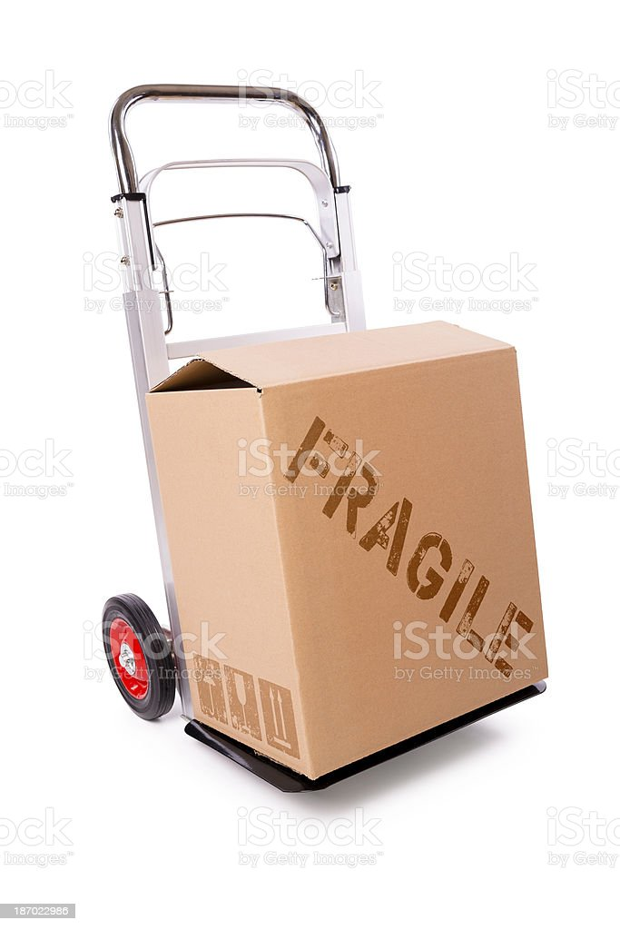 hand truck and carton box (clipping path) royalty-free stock photo