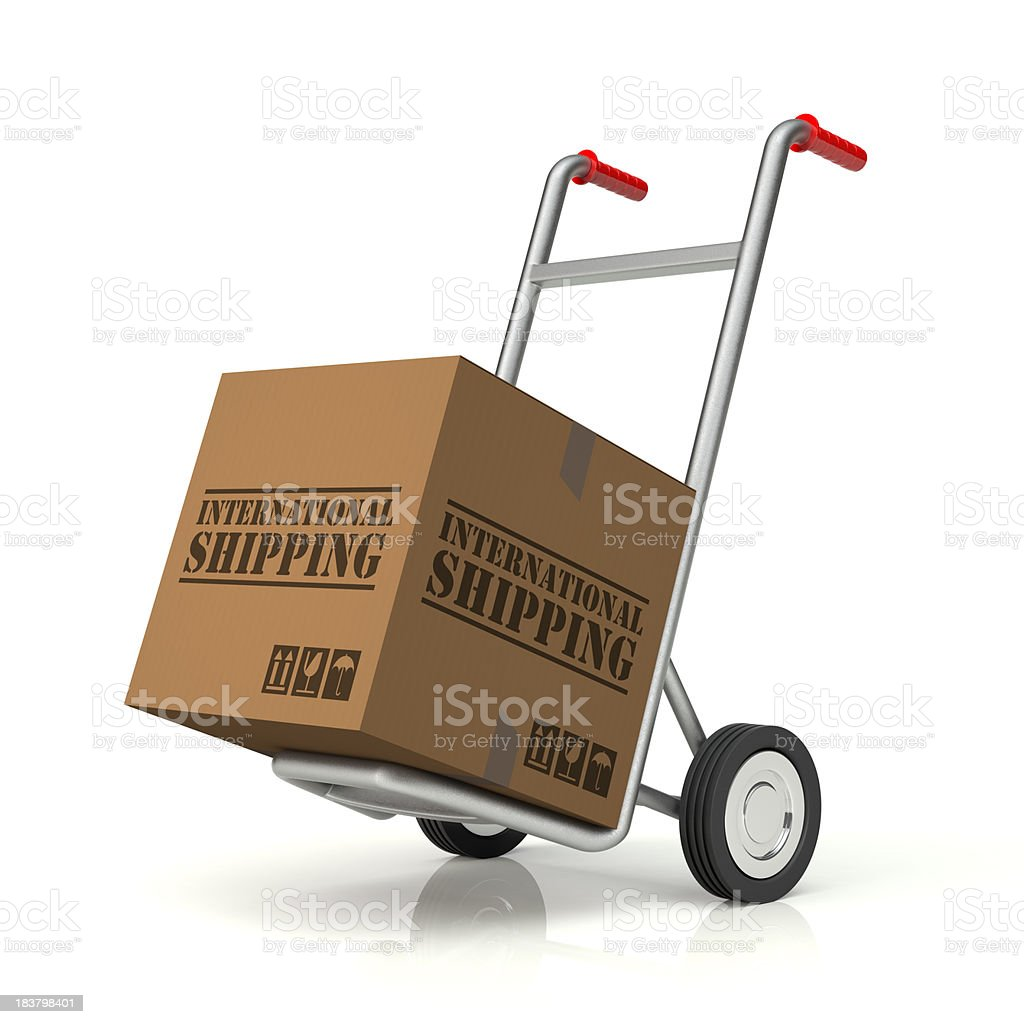Hand Truck and International Shipping Cardboard Box royalty-free stock photo
