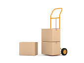Hand Truck and three brown cardboard boxes on white background