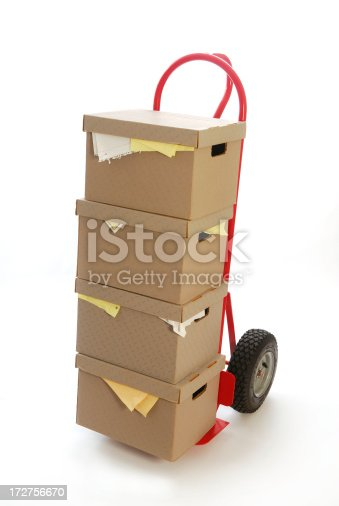 Boxes stacks on hand truck.Similar Image.