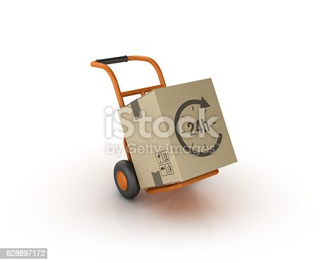 Hand Truck Carrying 24 Hours Delivery Cardboard Box - White background - 3D Rendering