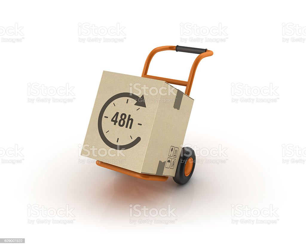Hand Truck Carrying 48 Hours Delivery Cardboard Box stock photo