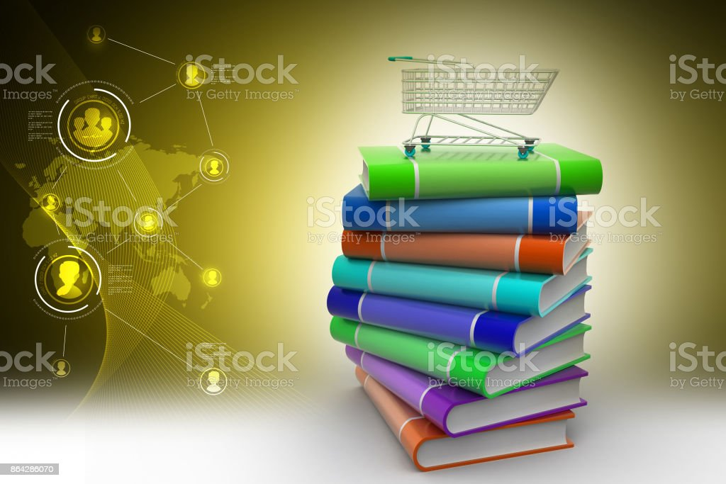 hand truck with books royalty-free stock photo