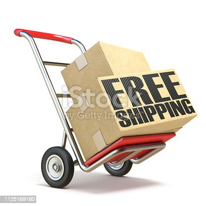 510998733istockphoto Hand truck with boxes and FREE SHIPPING text  3D 1125169160