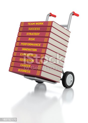 3D rendering of a hand truck with Business Books