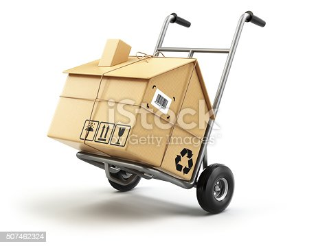 istock Hand truck with cardboard box as home isolated on white. 507462324