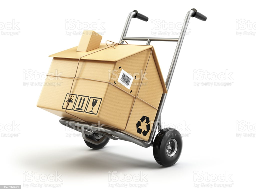 Hand truck with cardboard box as home isolated on white. stock photo