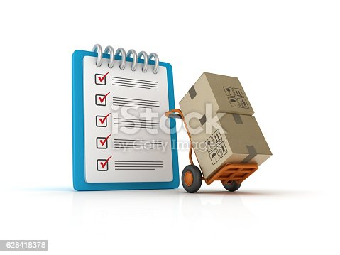 537516368 istock photo Hand Truck with CheckList Clipboard - 3D Rendering 628418378
