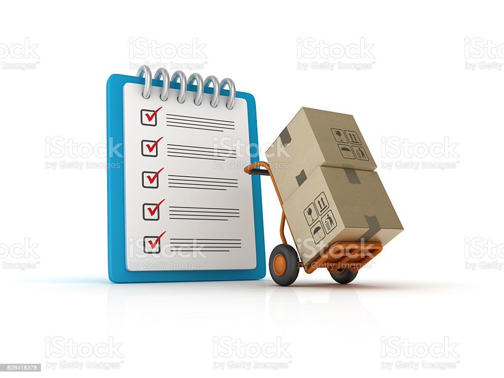 Hand Truck with CheckList Clipboard - 3D Rendering stock photo