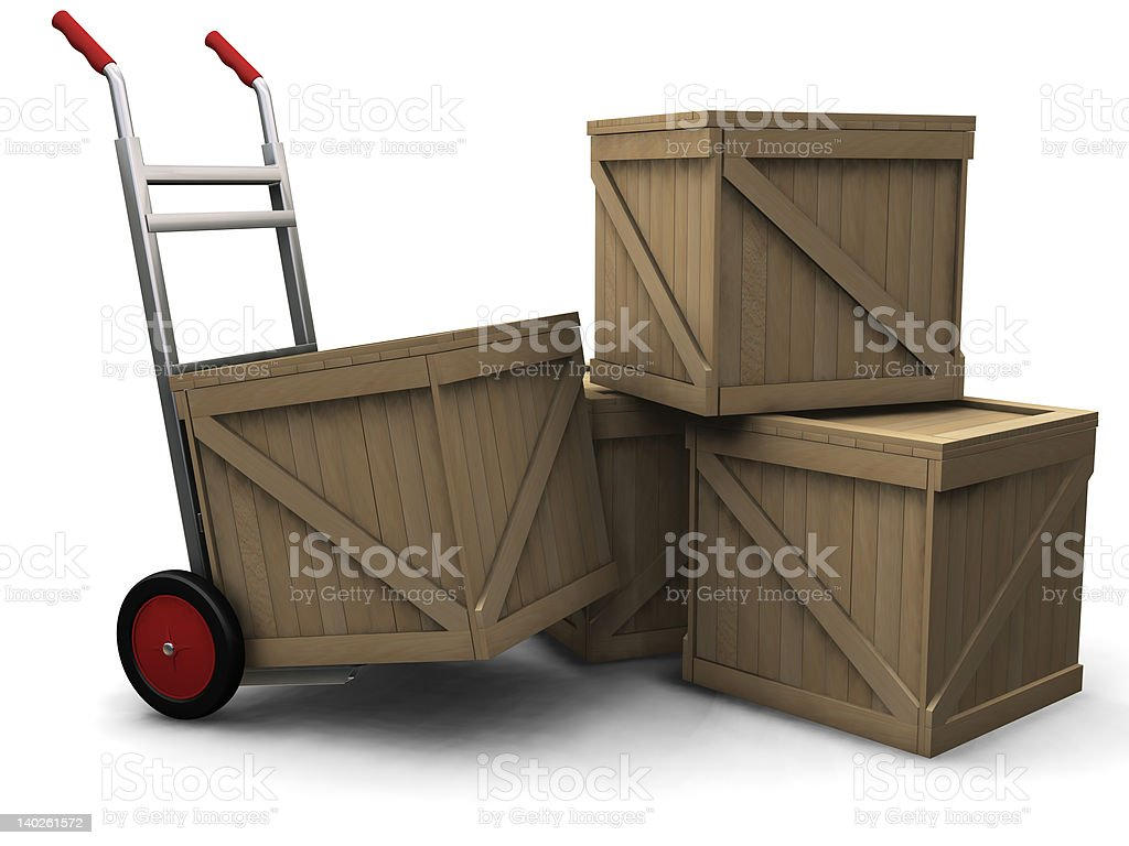 Hand truck with crates royalty-free stock photo