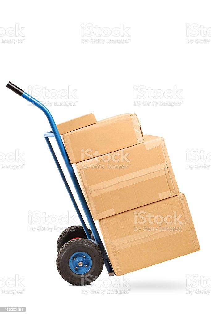 Hand truck with many boxes on it stock photo