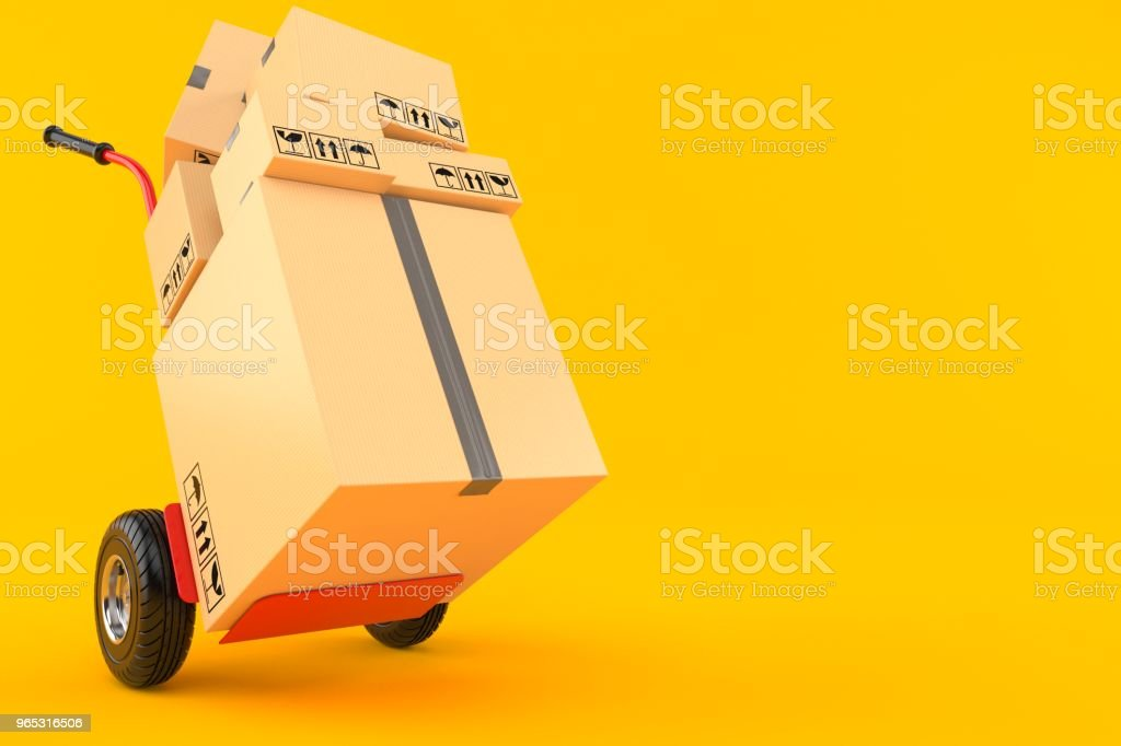 Hand truck with packages zbiór zdjęć royalty-free