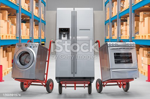 Hand trucks with household and kitchen appliances in warehouse. Delivery concept, 3D rendering