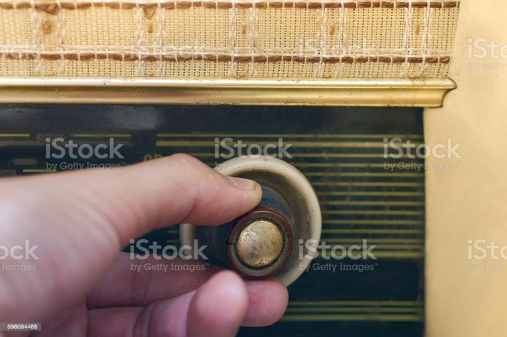 Hand Tuning Radio royalty-free stock photo