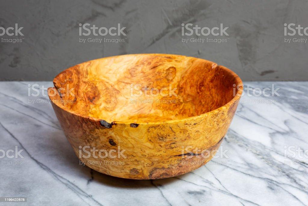Hand turned cherry wood bowl hand turned Cherry wood bowl with figured burl grain Art Stock Photo