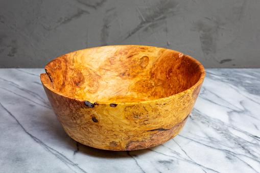 Hand Turned Cherry Wood Bowl Stock Photo - Download Image Now
