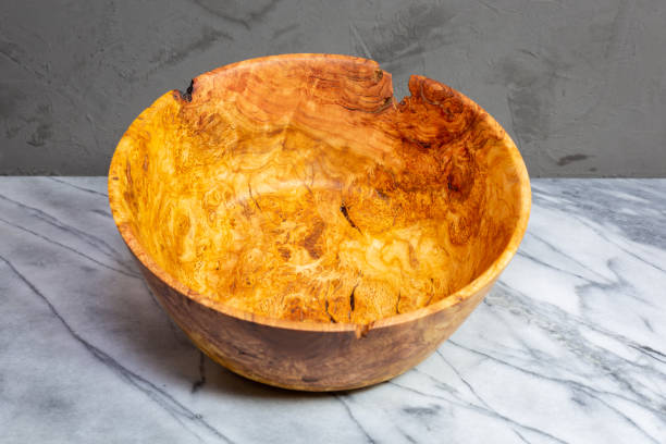 Hand turned cherry wood bowl stock photo