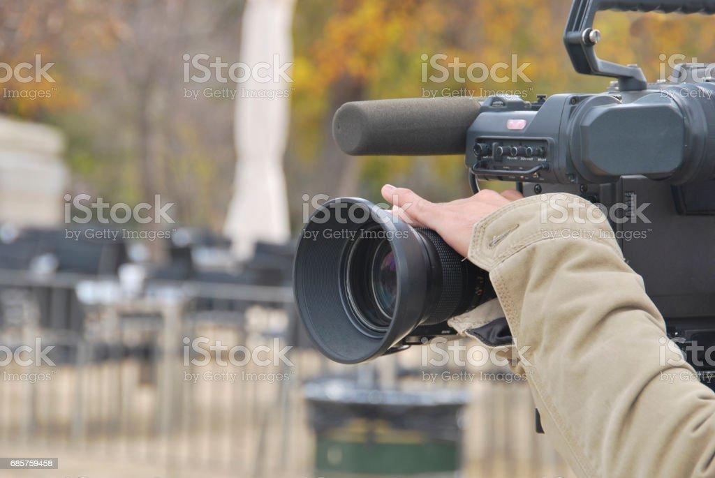 hand tv camera stock photo