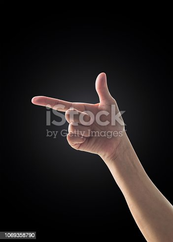 Hand up with pointing finger with rim light isolated on black background (clipping path)