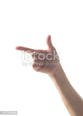 Hand up with pointing finger with rim light isolated on white background (clipping path)