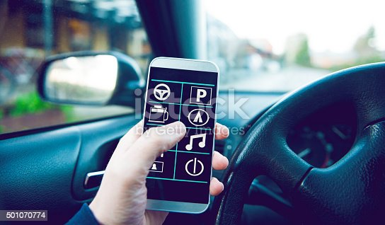 501071464 istock photo Hand use mobile phone app in car 501070774