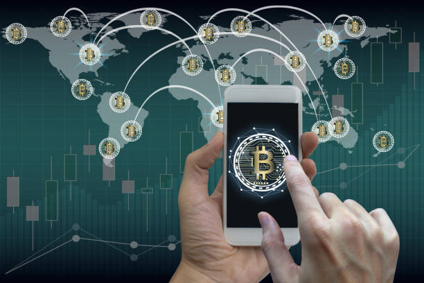 Hand use smartphone bitcoin and blockchain network connection, Stock exchange concept stock photo