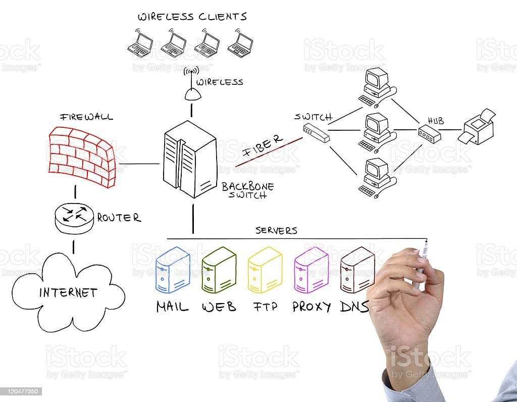Hand Using Marker To Draw Network Diagram Stock Photo & More Pictures of Color Image | iStock