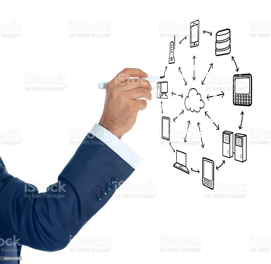 Hand Using Marker To Draw Network Diagram Stock Photo
