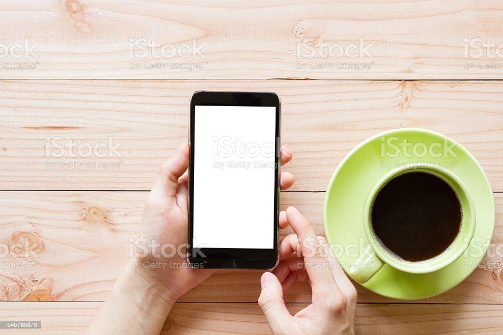 hand mit mobile Smartphone mit leeren weißen Leinwand – Foto