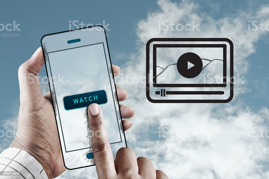 Hand Using Mobile to Watching a Video, Mobile Performance Concept - foto de stock