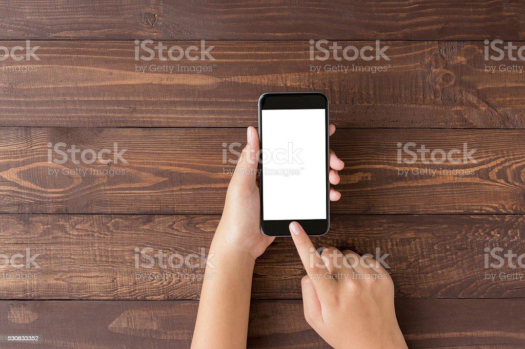Smartphone in der hand mit leeren Bildschirm auf Aufsicht Winkel - Lizenzfrei Ansicht von oben Stock-Foto
