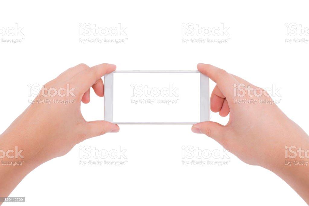 Hand mit Handy-Kamera isoliert auf weißem Hintergrund – Foto