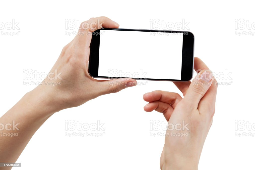 Hand using smartphone – Isolated with clipping path stock photo