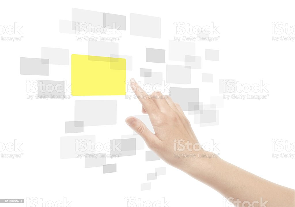 Hand Using Touch Screen Interface royalty-free stock photo