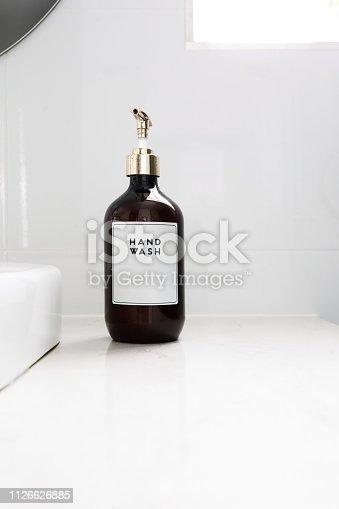 Hand Wash Dispenser In Luxury White Bathroom - Home Decor / Decoration
