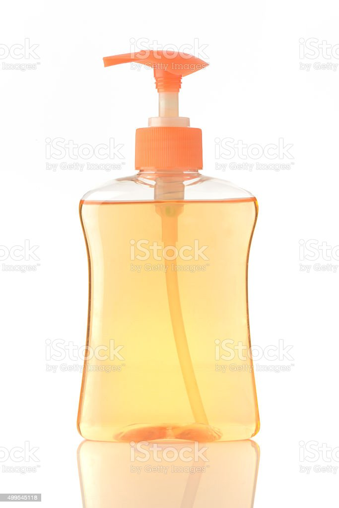 Hand Washing Liquid Soap in orange Color stock photo