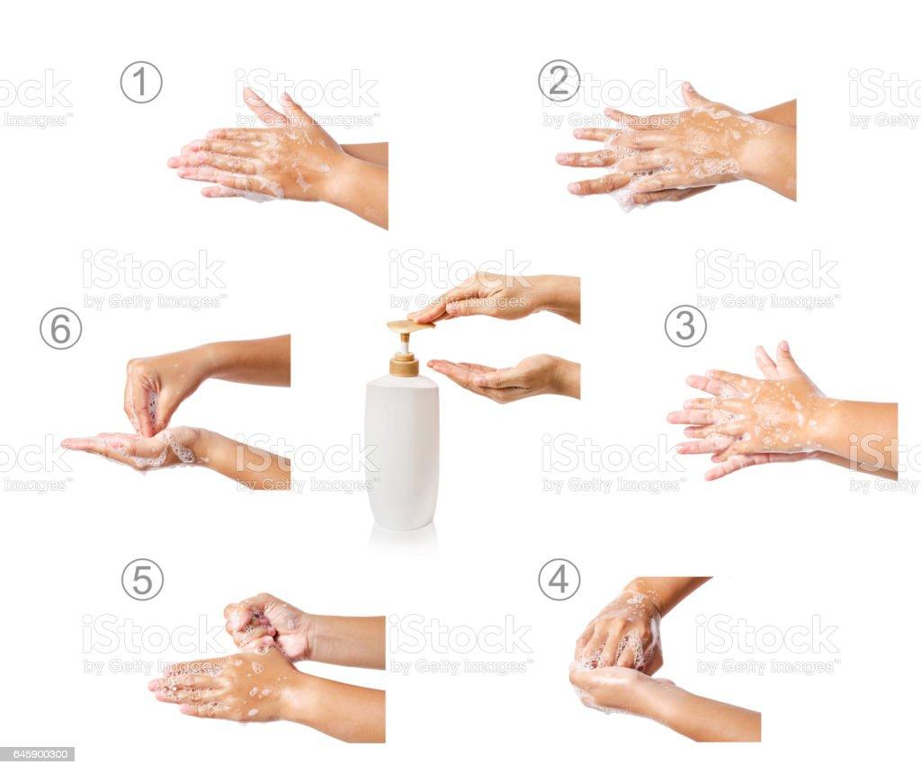 Hand washing medical procedure. stock photo