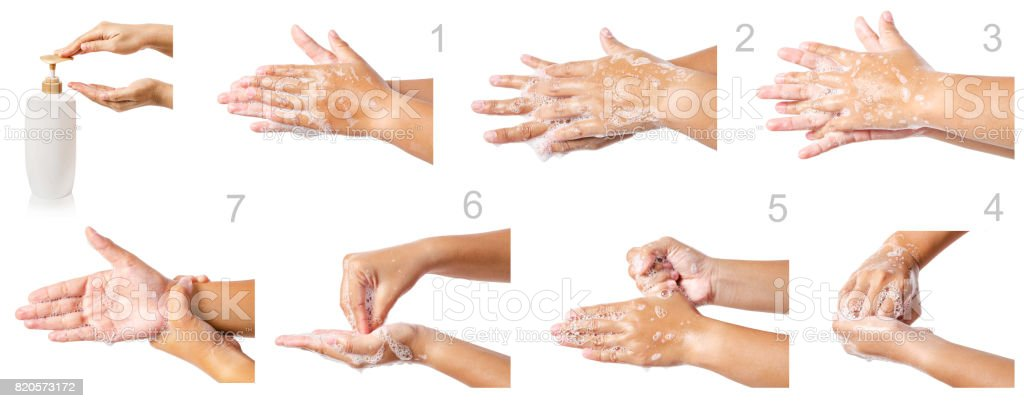 Hand washing medical procedure step by step. stock photo