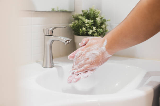 hand washing with water and soap, clean and protection from dirty, virus, bacteria - sapone foto e immagini stock