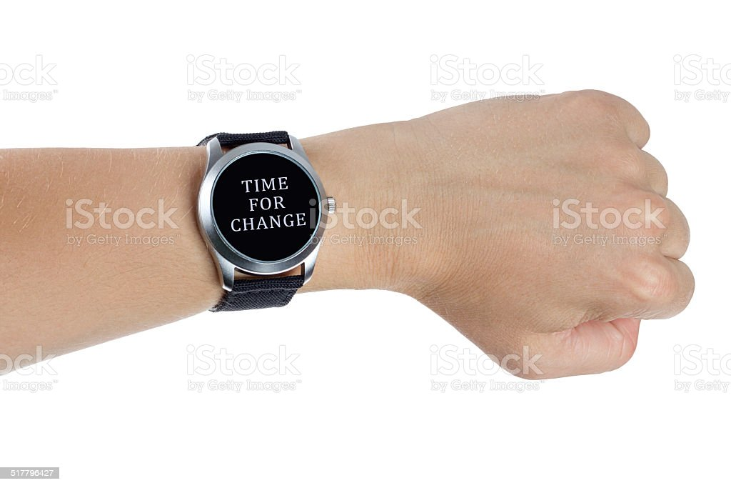 Hand wearing a black wrist watch. Time for change concept stock photo