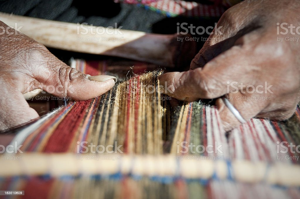 Hand weaving royalty-free stock photo