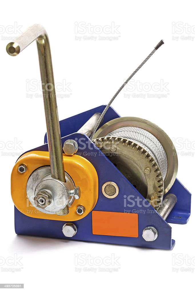 Hand Winch With Metal Cable Stock Photo - Download Image Now
