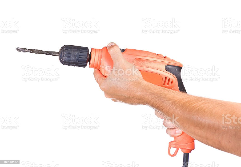 Hand with a drill royalty-free stock photo
