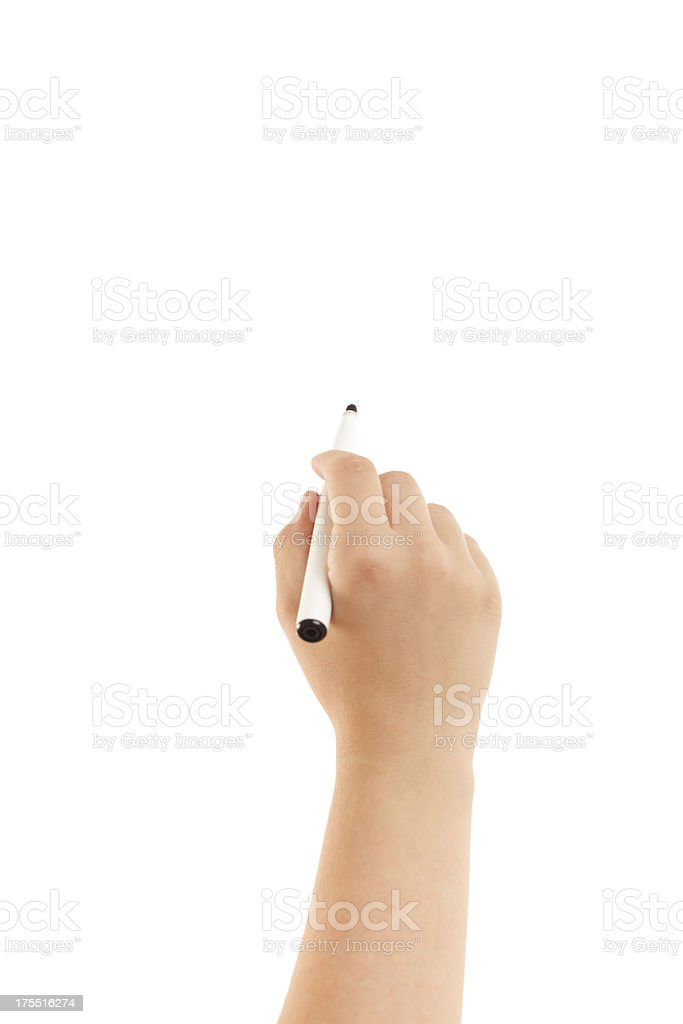 Hand with a felt tip pen royalty-free stock photo