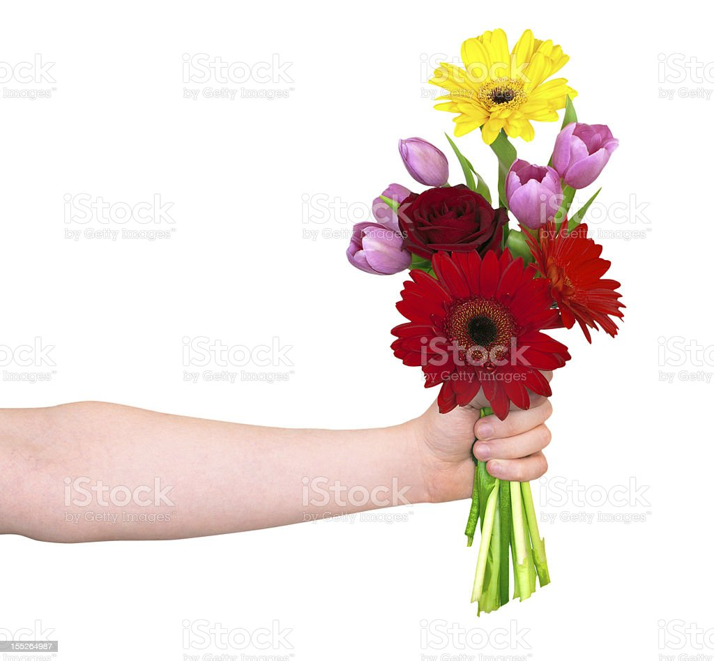 hand with  a flowers stock photo