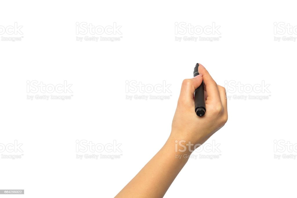 Hand with a marker on a white background stock photo