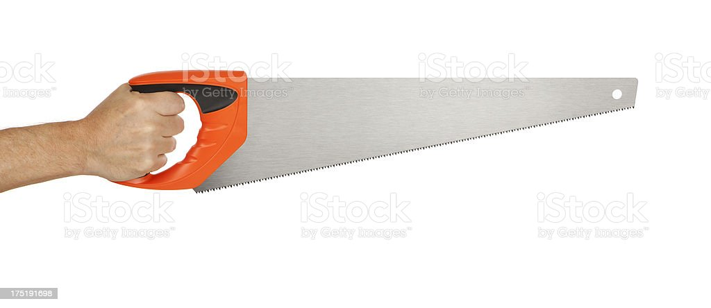 Hand With a Saw royalty-free stock photo